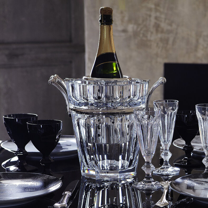 HARCOURT CHAMPAGNE COOLER, Clear & silver
