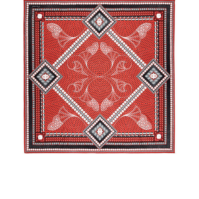 LOUXOR SILK TWILL SCARF, Red