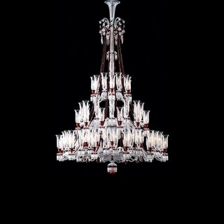 ZÉNITH CHANDELIER 36 TO 84 LIGHTS  Clear & red