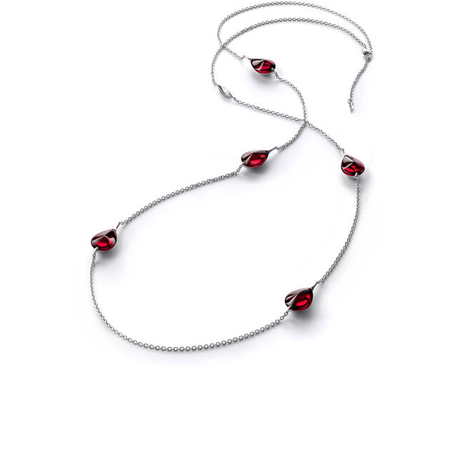 FLEURS DE PSYDÉLIC LONG NECKLACE, Iridescent red