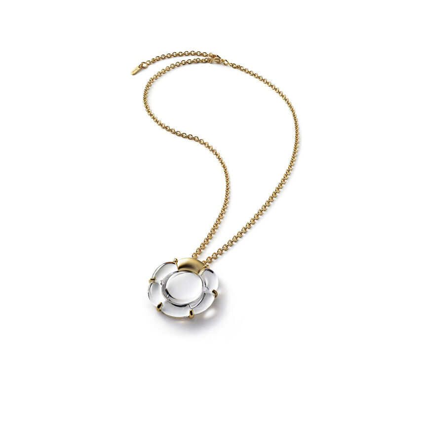 B FLOWER NECKLACE, Mirror clear