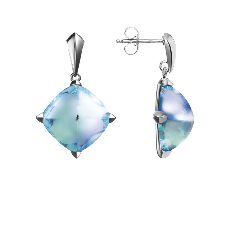 MÉDICIS EARRINGS, Aqua mirror - 2