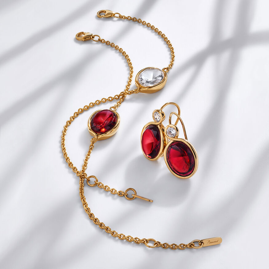 Croisé Earrings red vermeil, Red - 2