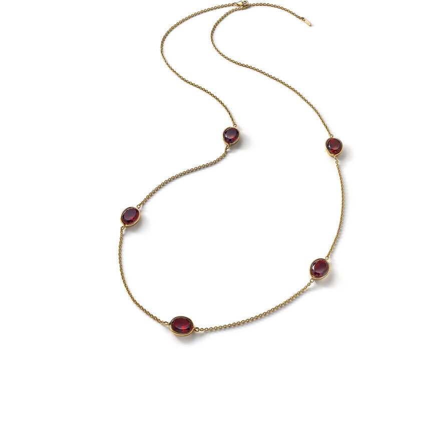 Croisé Long necklace red vermeil, Red
