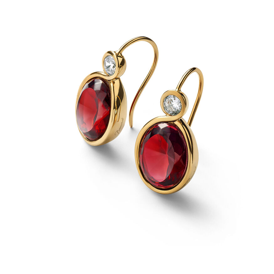 Croisé Earrings red vermeil, Red
